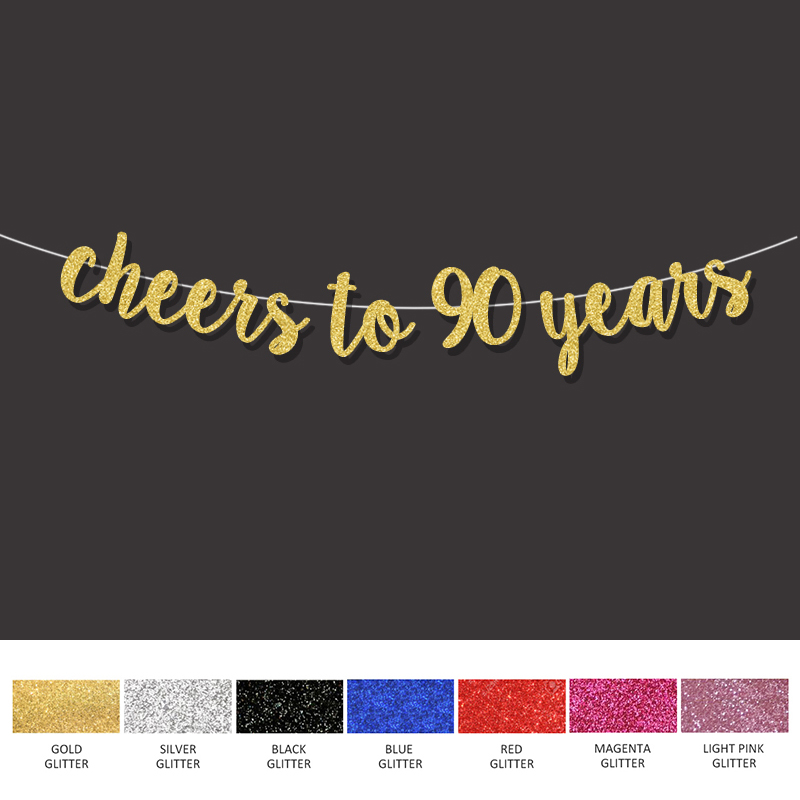 90th Birthday Party Decorations For Cheers To 90 Years Banner Happy Gold Sign Wedding Anniversary Decor Supplies