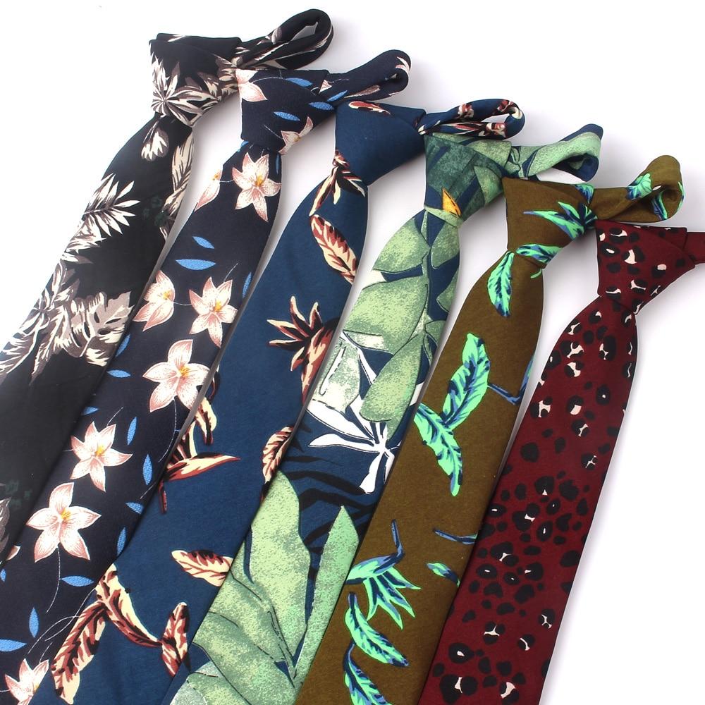 New Spring Summer Ties For Men Cotton Print Men Necktie Suits Floral Mens Neck Tie For Business Cravats 7cm Width Groom Neckties