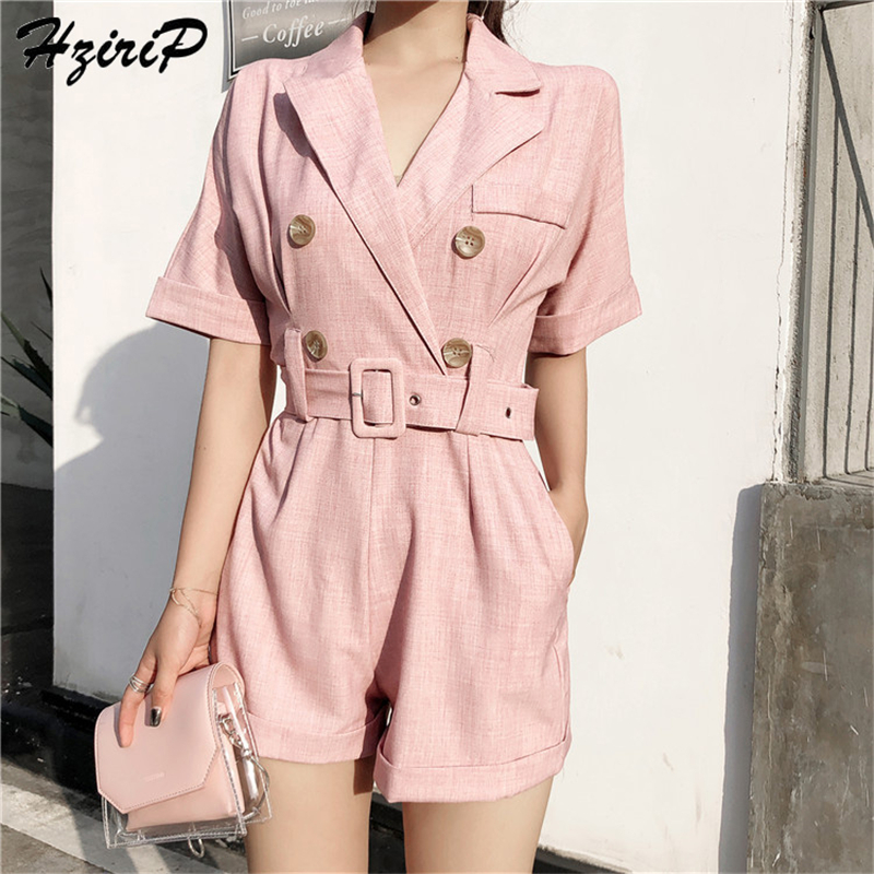 HziriP OL   Jumpsuit   Women Romper+Sashes 2018 Summer Bodysuit Elegant Party Sexy Solid Playsuits Short Sleeves Short Pant Overalls