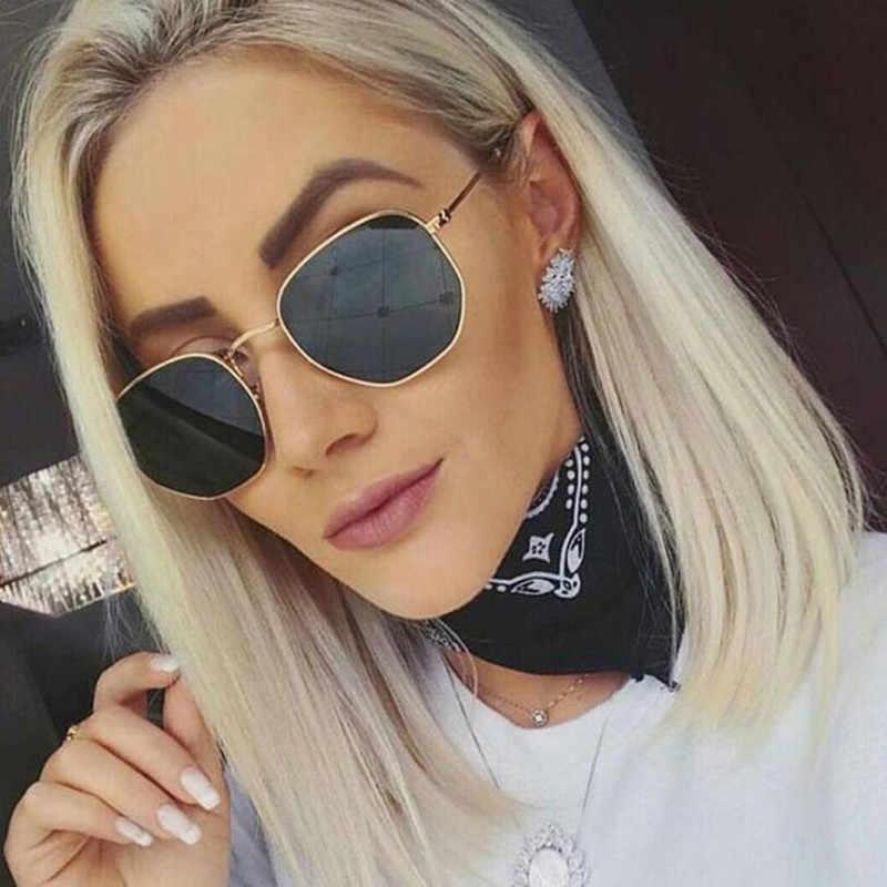 Gafas De Sol reflectantes con lentes De cristal Vintage para mujer, gafas con montura metálica clásicas De diseñador De marca, gafas De Sol hexagonales con espejo De moda