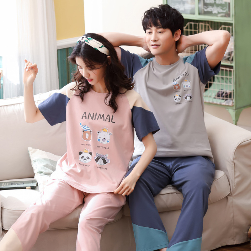 Women and men 2019 summer new Korean cotton couple   pajamas   short sleeve trousers casual and comfortable two piece   pajama     sets