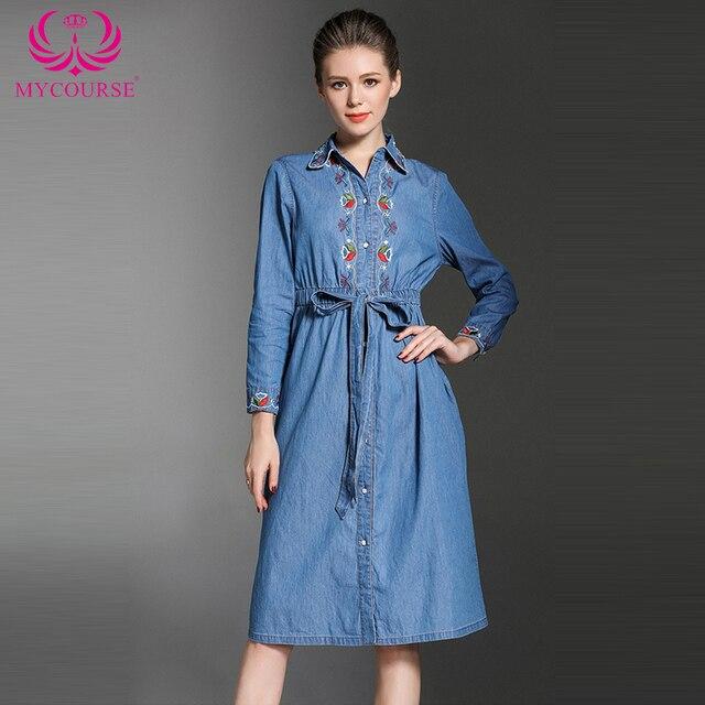 3c581eab656 MYCOURSE Automne nouvelle mode Broderie cowboy manches longues femelle  brodé robe casual Denim Jeans Partie Robe