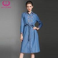 MYCOURSE Sonbahar yeni moda Nakış kovboy uzun kollu kadın işlemeli rahat elbise Denim Kot Parti Elbise vestidos Aline