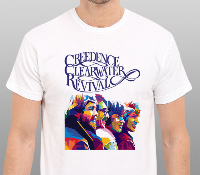 aa23f73f4 LEQEMAO 2017 Men's Creedence Clearwater Revival Retro 1971 Art 3D Printed  Men's Cotton T Shirts Popular Short Sleeve Tee