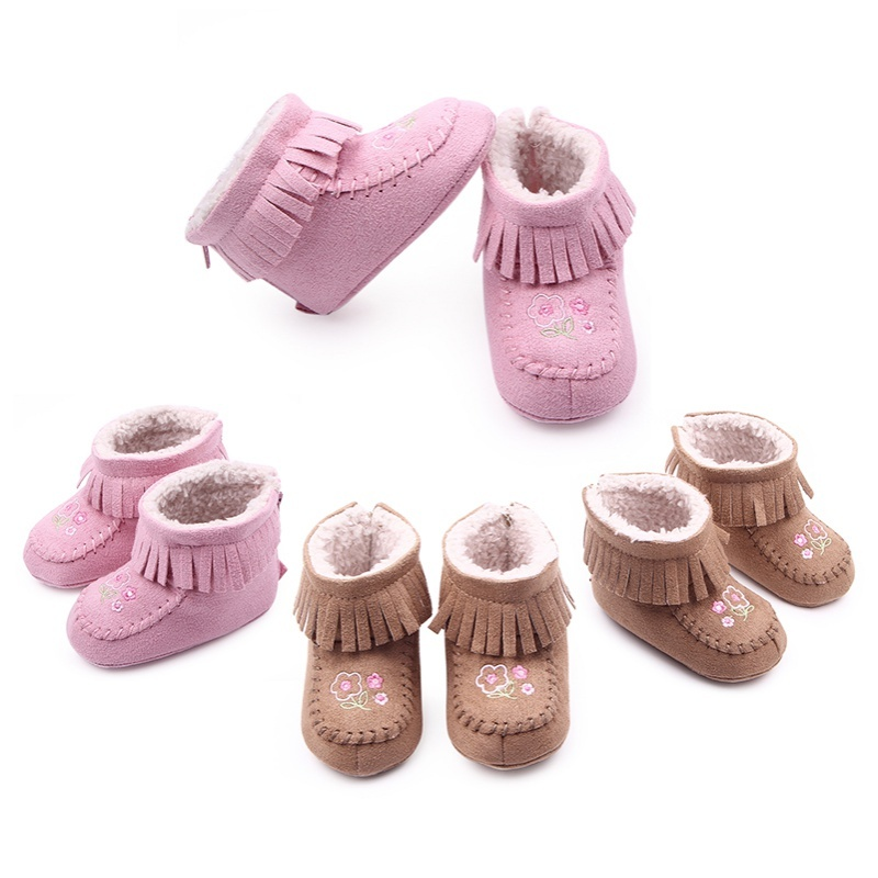 1 Pair Baby Shoes Hot Popular Tassel Baby Moccasins Leather Baby Girls Shoes and Soft Bottoms Baby Warm Shoes in Winter