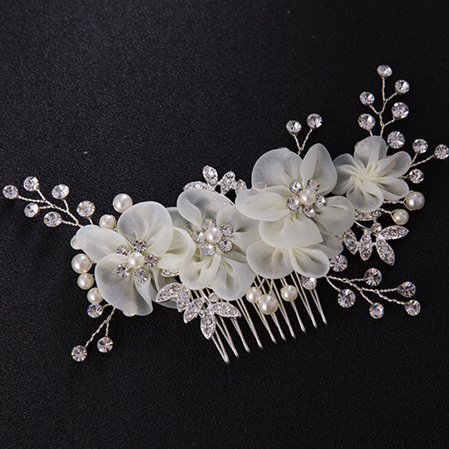 hot sale fancy beautiful style hair clips china wedding decotative accessories hair brush comb silver color