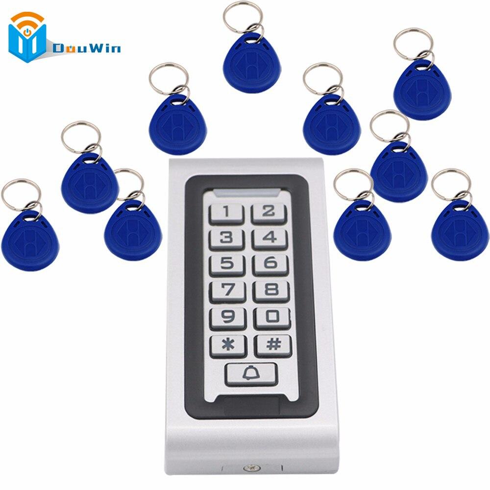 Kit di Controllo di accesso Impermeabile 1 pz RFID Card Reader + 10 pz fob chiavi Controller di Accesso Reader Tastiera Con Metallo caso Winte