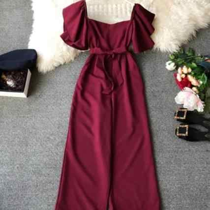 Костюмы, женские комбинезоны длиной до щиколотки, женские брюки, летняя модная одежда с оборками, цвет черный, синий, желтый, красный, AE201