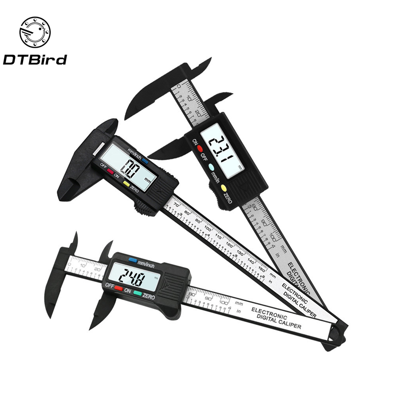 150mm 6 inch LCD Digital Electronic Carbon Fiber Vernier Caliper Gauge Micrometer Measuring Tool