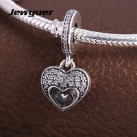 Mother S Day I Love My Mom Hearts Charm 925 Sterling Silver Fit Bracelets Necklace Pendant