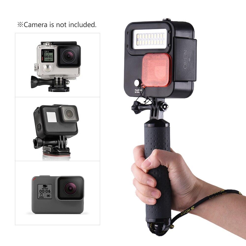 SHOOT XT GP435 caméra d'action poche plongée lumière 40 m étanche sous marine LED lumière de remplissage pour GoPro Hero 6/5/4/3 + caméra de Sport-in Accessoires pour caméscope from Electronique    1
