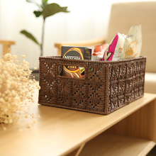 Sui Ming-shaped lines of national style grass rattan collection basket debris storage box finishing bask