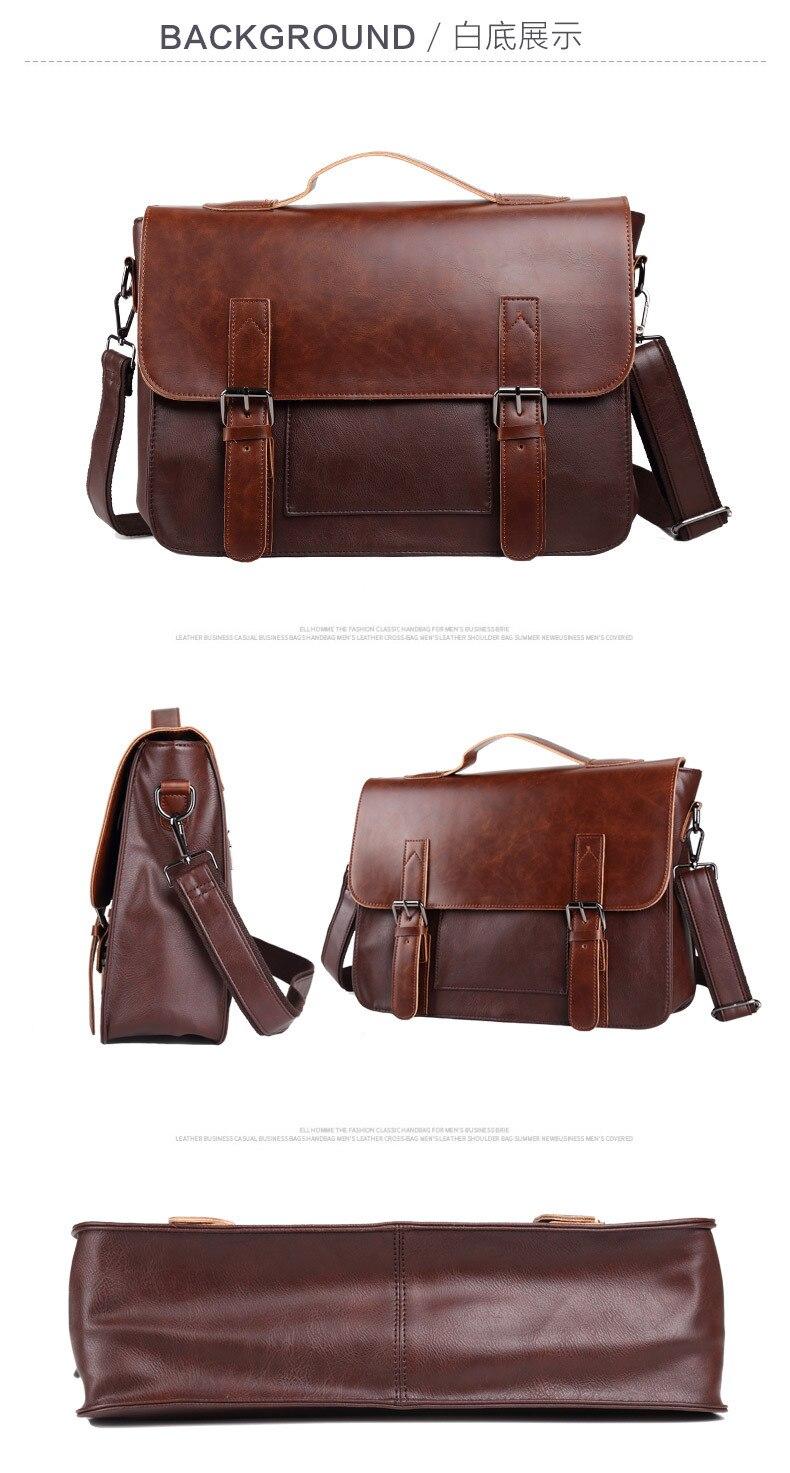 HTB1I1O5R9zqK1RjSZFHq6z3CpXaY Crazy Horse Artificial Leather Business Handbag Laptop Briefcases for Men Leather Casual Men Bag Messenger Shoulder Bags Man