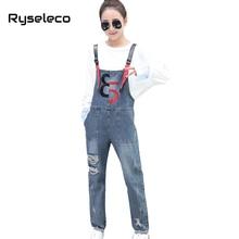 Ryseleco Slim Casual Denim Overalls Women Jumpsuit Rompers women Ripped Jeans Woman Hit Color No. Salopette Femme Bib Clothing