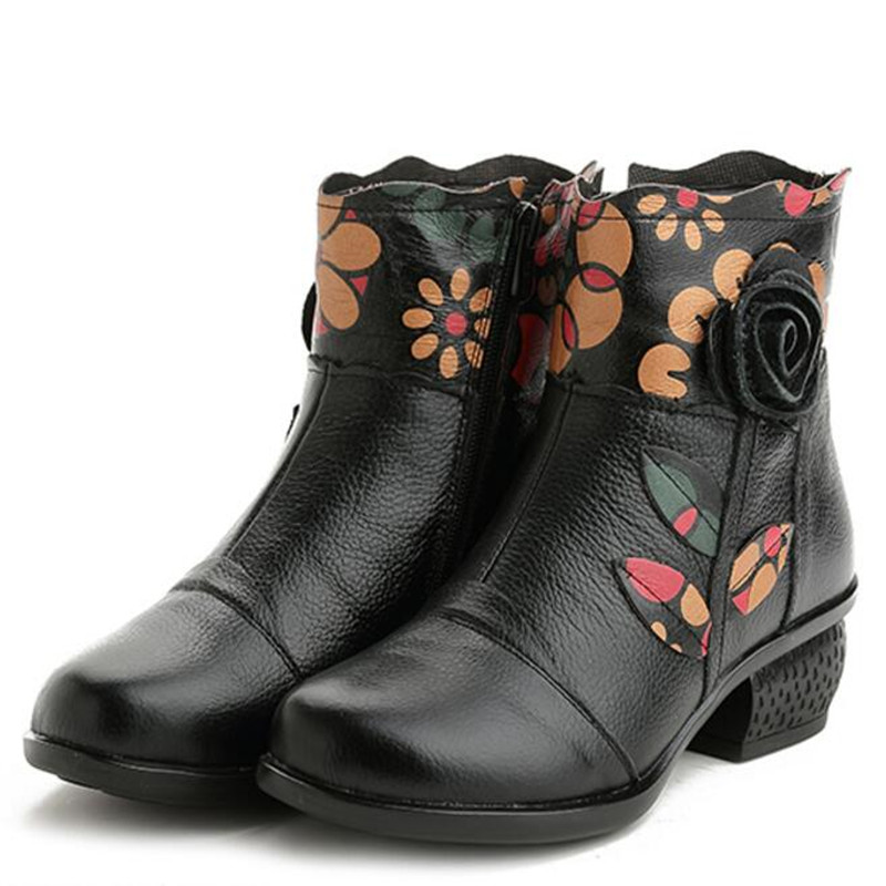 2018 новая зимняя обувь из воловьей кожи с цветочным принтом, женская модная обувь, ботильоны, теплые удобные зимние сапоги, женская обувь, бот...
