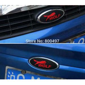 Image 4 - 2 x New Design Car Styling Car Logo Cover Sticker Carbon Fiber Vinyl Decal Wolf Emblem for Ford Focus MK 1 Focus MK 2