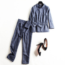 Women autumn casual 2 piece pants suits new brand runway high quality plaid shirt and straight