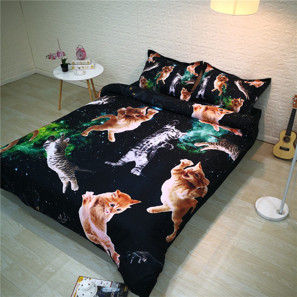 3D Lovely Cat Bed and Bedding Set Microfiber Bedding Modern Black Comforter Duvet Cover Set US
