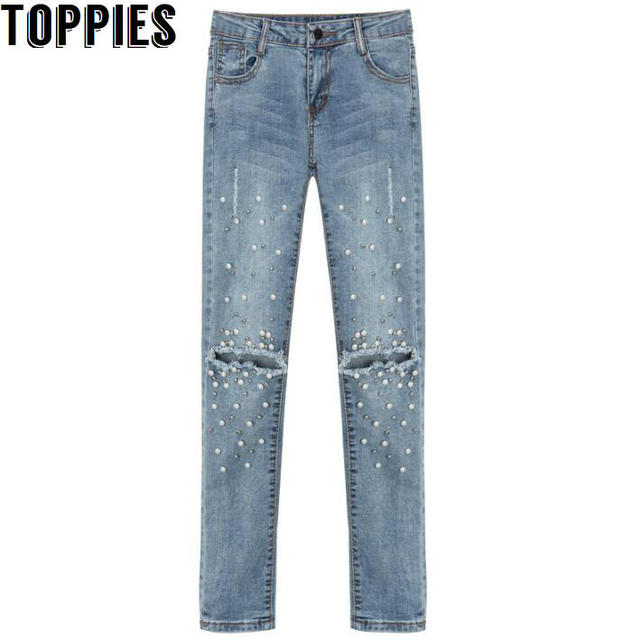 b9cb3db6c Mulheres 2017 Mulheres Pérola Frisado Calça Jeans Retro calças de Brim Do  Furo Do Vintage Feminino