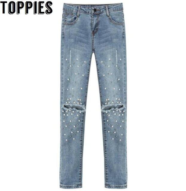 c0a7216f8 Women 2017 Women Pearl Beaded Jeans Retro Vintage Hole Jeans Female Skinny Denim  Pants Ripped Trousers PT151
