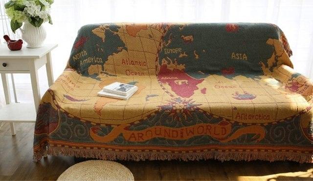 Lieblich Retro Weltkarte Jacquard Decken Schutzhülle Für Sofa Betten Wand 100%  Baumwolle Verdicken Couch Decke Tischdecken