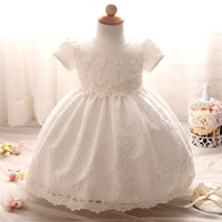 Lace Crochet Christening Gown Toddler Girl White Wedding Dress First Birthday Outfits Baby Girl Tutu Summer