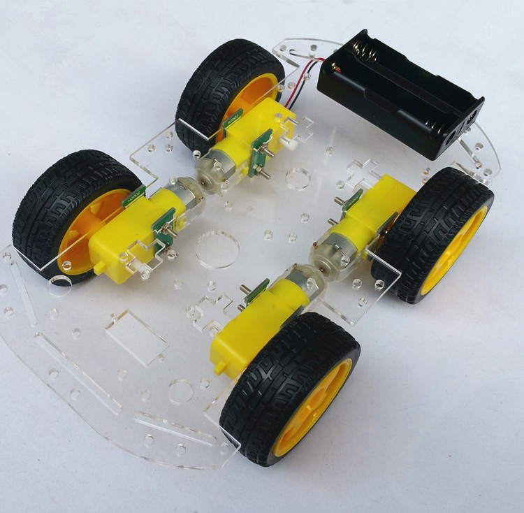HJ-4WD intelligent four-wheel drive car chassis tracking and obstacle avoidance 4WD four round smart car chassis 2 wheel drive robot chassis kit 1 deck