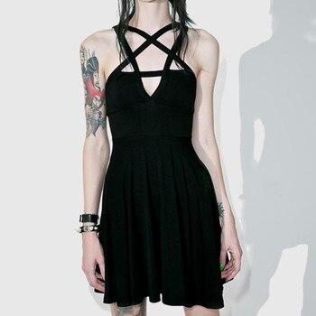 2019 Sexy Summer Women Slim Mini Dress Black Pentagram Women Goth Dress Sexy Fashion Dress