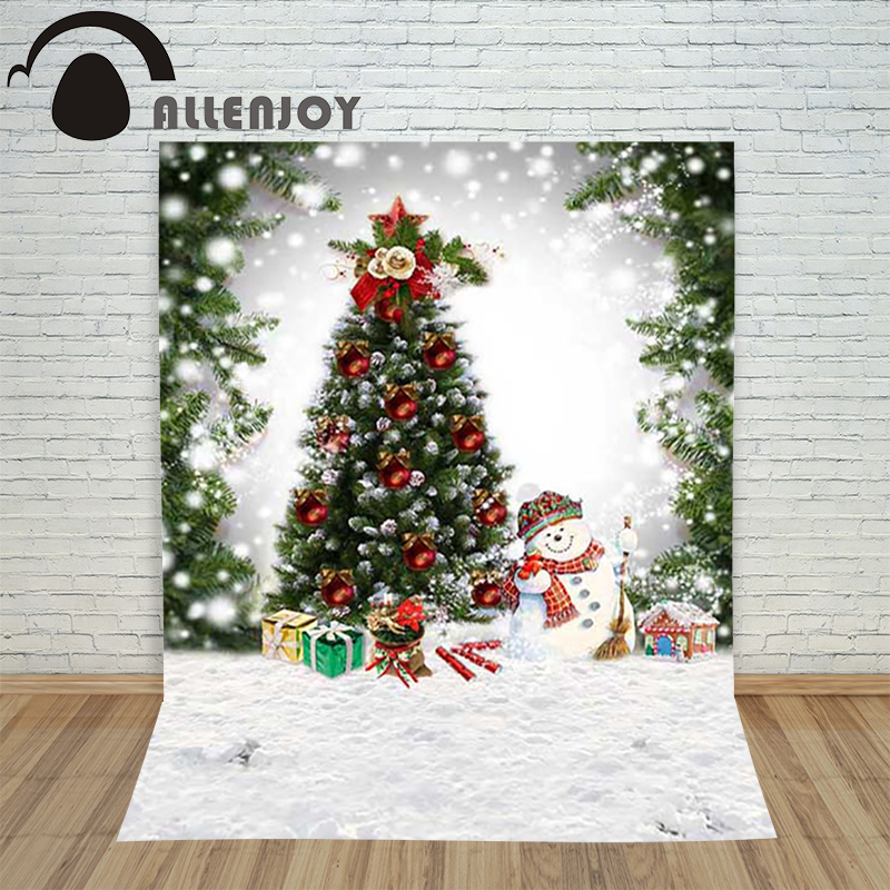 Allenjoy christmas photography backdrop Snow xmas Tree Snowman Winter children's camera photocall Customize festive allenjoy christmas photography backdrop wooden fireplace xmas sock gift children s photocall photographic customize festive