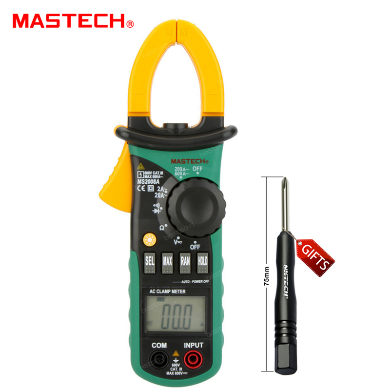 MASTECH MS2008A Auto Range Digital AC Current Clamp Meter Ammeter Voltmeter Ohmmeter w/ LCD Backlight hd hd90b auto range digital clamp meter multimeter amp volt ohmmeter w frequency capacitance