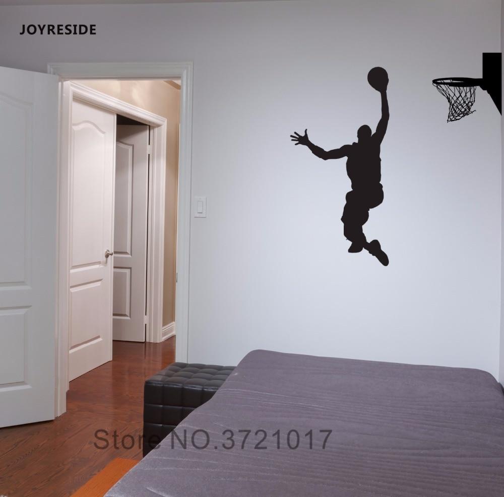JOYRESIDE Basketball Player Wall Decal Vinyl Sticker Slam Dunk Hoop Sport Kid Boy Bedroom Living Room Removable Decoration XY004