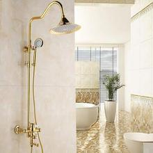 Foyi brand Gold Polished Shower Sets Brass big Rainfall Head Bath Faucets Mixer Tap luxury gold shower faucet