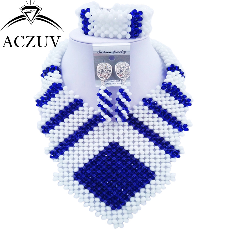 ACZUV Latest Royal Blue and White Wedding Bridal Jewelry Sets for Women Nigerian Necklace CFKK007 active long sleeve blue and white women s crossover playsuit