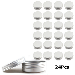 24 Pack 60ml Tin Cans Screw Top Round Metal Lip Balm Tins Containers Balm Tin Storage Jar Containers with Screw Cap for Lip