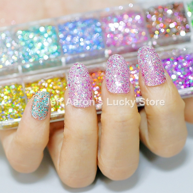 US $1 53 23% OFF|Aliexpress com : Buy 12 colors holographic glitter nail  powder for nail art decorations dipping powder fake nails accessoires tool