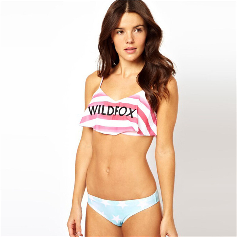 2018 Lovely Sweet Bikini Stripe Star Print Bikini Set For Grils Bra Padded Swimwear Women Swimsuit Maillot De Bain Pink And Blue