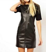 New Arrival Artificial Leather Folded Dresses Stretch Sexy Mini Bodycon Girl Dresses Club Slim Fashionable Dresses