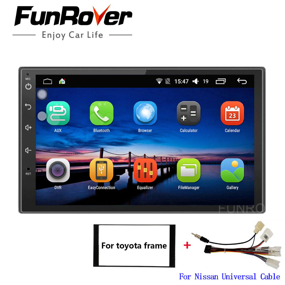 Funrover 7 inch Android 8.0 2 din universal car dvd player For Toyota universal radio gps navigation stereo player navi wifi RDS