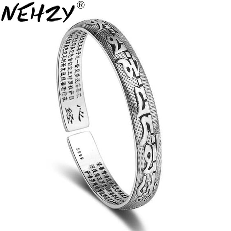 NEHZY 925 sterling silver new woman Buddhist scriptures bracelet men's classic retro six words mantra open bracelet jewelry