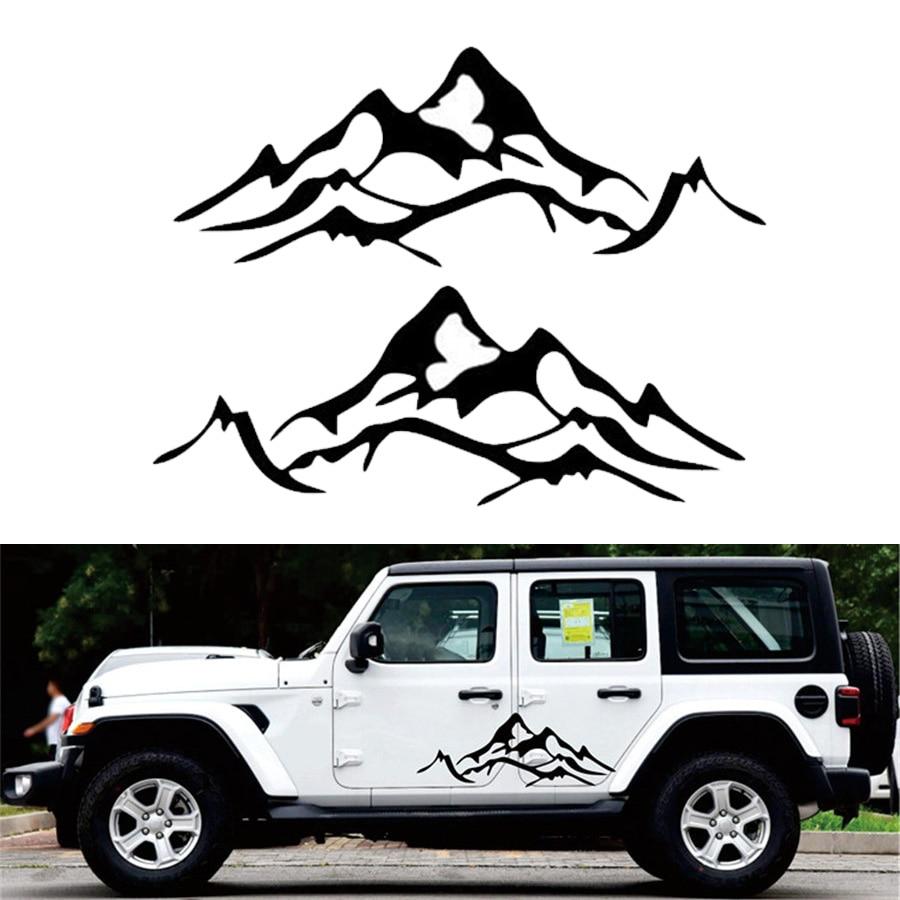 2 pcs mobil stiker mobil tubuh stiker gunung grafis vinyl untuk jeep wrangler rubicon sahara ku