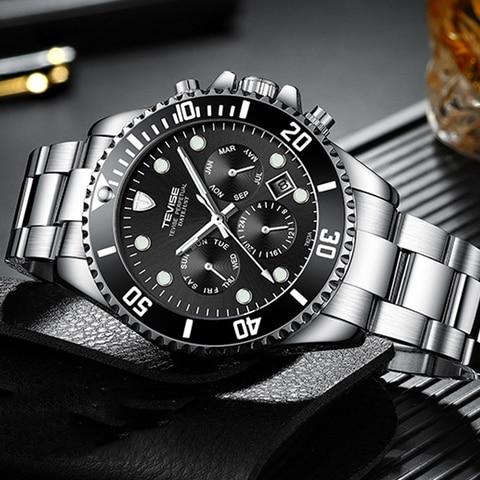 Mecânicos dos Esportes dos Homens Duplo Rotatable Dial Tevise Marca Superior Automático Relógios Enrolamento Militar Relógio Masculino Frete Grátis