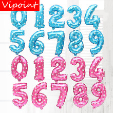 VIPOINT PARTY 16inch blue pink 0-9 number foil balloons wedding event christmas halloween festival birthday party HY-338 vipoint party 16inch rose gold blue letter number foil balloons wedding event christmas halloween festival birthday party fd 14