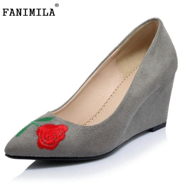 Wanita Wedges High Heels Sepatu Wanita Pompa Sepatu Pernikahan Naik Round  Toe Manis Wanita Kantor Sampel 567384e1ff