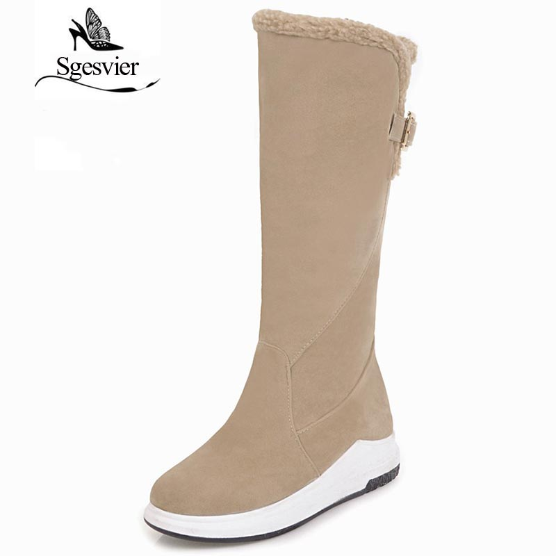 SGESVIER Women Mid Calf Boots Winter Snow Boots Casual Shoes Woman Half Boots Warm Lining Low Heel Slip On Shoes Botas OX159 new fashion superstar brand winter shoes embroidery snow boots tassel women mid calf boots thick heel causal motorcycles boots