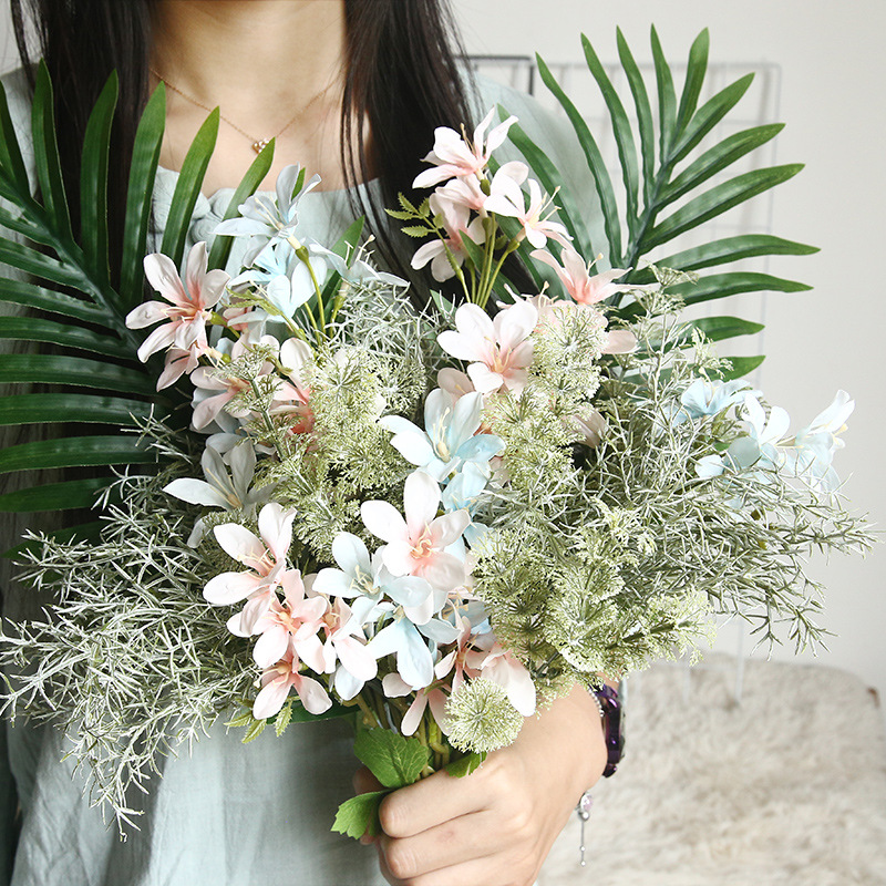 3 fork dance orchid artificial flower bouquet fake flower wedding family party decoration hotel furnishings Cheap flower Best Children's Lighting & Home Decor Online Store