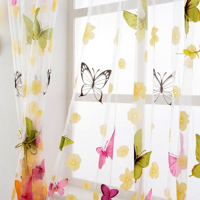 NAPEARL filato Della Farfalla rustico romantico tulle tenda della finestra di screening personalizzare i prodotti finiti balcone puro tende camera da letto