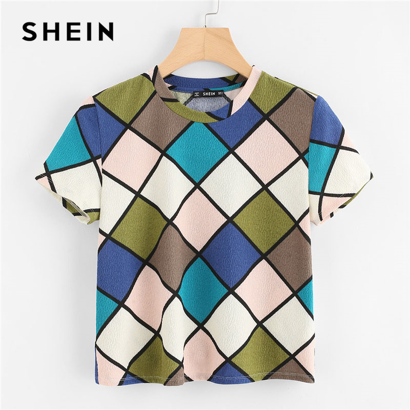 SHEIN Geometric Print Textured Top Women Round Neck Short Sleeve Clothing Stretchy Top Tee 2018 Summer Casual T-shirt casual women s round neck print ruffled top
