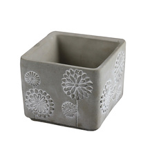 Silicone Mold for Concrete Flowerpot Square with Embossed Pattern Cement Vase Mould