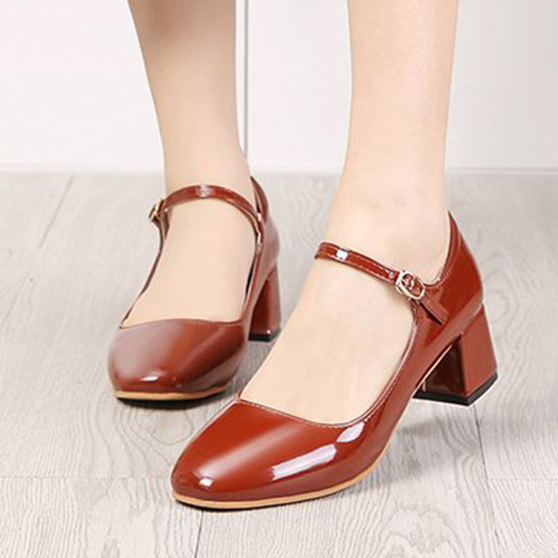 2019 New Women Dress Shoes Medium Heels Mary Janes Shoes Patent Leather Pumps Ankle Strap Ladies Shoe Office Zapatos Mujer E875
