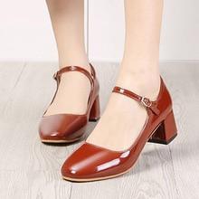 2019 New Women Dress Shoes Medium Heels Mary Janes